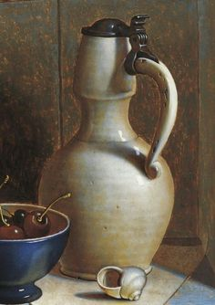 Henri Bol, Still life with butterfly, 1992  (detail) Vermeer white Delftware jug.