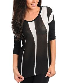 Take a look at this Black & White Sheer Stripe Top by Buy in America on #zulily today!