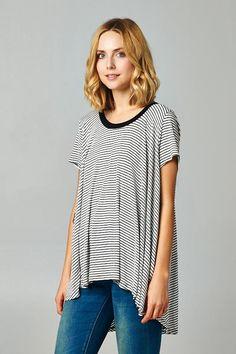 Becca Tunic in Black on White Stripe