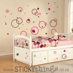Our Best Seller! Two-Tone Bubbles Circle Wall Stickers are perfect for kids and baby rooms but will suit a bedroom, lounge or even kitchen! Comprising of 60 circle bubbles that can be positioned separately over a number of rooms or in the design like the photo. Bubble sizes range from approx. 2-26cm. And: Get 80 bubbles in same colour choice free!
