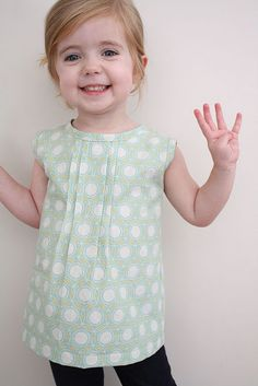 Easy and cute pattern from a shirt you already have. Love this fabric!