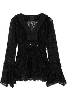 ANNA SUI  Ruffled stretch-lace top --
