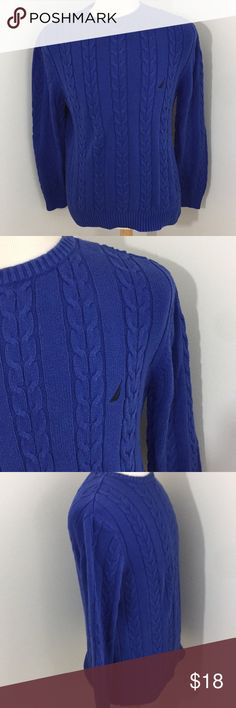 Nautica Sweater Dark blue cable knit sweater. Made with 100% cotton. In good used condition with no flaws. Nautica Sweaters
