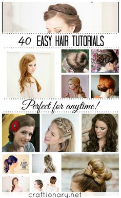 40 Easy Hair Tutorials (For Long and Short Hair) ~  There are all types of hair tutorials. From ideas to make hair buns, hair braids and hair ponytails, to fun ideas to curl your hair, twist it (french twisted or gibson tuck) and so much more.  How To Links @: http://www.craftionary.net/2013/12/40-easy-hair-tutorials-long-short-hair.html