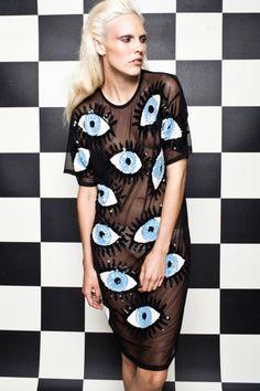 Eyeball dress by Discount Universe Estilo Retro, Inspiration Mode, Traditional Fashion, Discount Universe, Street Style, Fashion Seasons, Mesh Dress, Sheer Dress, Fashion Details