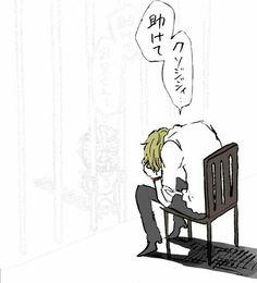 Sanji, sad, text, chair, prison, jail; One Piece
