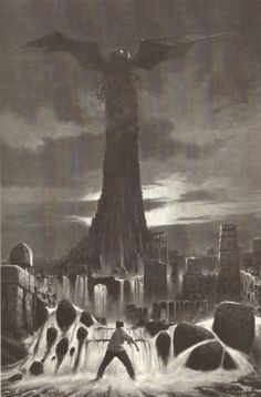 The Great cthulhu Hp Lovecraft, Lovecraft Cthulhu, Cthulhu Art, Arte Horror, Horror Art, Dark Fantasy, Fantasy Art, Fantasy Landscape, Dibujos Dark