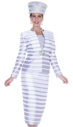 Champagne Italy 5011 3pc Women's Church Suit in twill satin with gradient  stripe printed jacket and