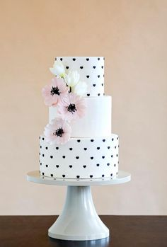 White Wedding Cakes We're obsessed with everything about this chic polka dot wedding cake! - We are swooning over the intricate detail-work on these pretty chic wedding cakes from Wild Orchid Baking Company. Take a look and happy pinning! Beautiful Wedding Cakes, Gorgeous Cakes, Pretty Cakes, Amazing Cakes, Cake Wedding, Whimsical Wedding, Fondant Cakes, Cupcake Cakes, Buttercream Cake