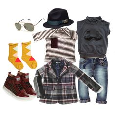 """""""Plaid, Stripes & Studs + a Pop of Yellow"""" by boysbecool on Polyvore. This is so cute, I'd wear it myself!"""