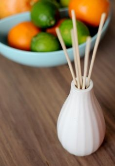 Make your own diffuser oil. Mix 3/4 cup mineral oil, 1/4 cup vodka, 1/2 cup essential oil. You can order the diffuser sticks on Amazon, 100 for $8.00 Very Cool, and fairly cheap.