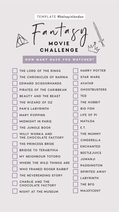 Fantasy Movie Challenge Checklist ~ How many have you watched? From Narnia to Ho… Fantasy Movie Challenge Checklist ~ How many have you watched? From Narnia to Ho…,Film & Series Fantasy Movie Challenge Checklist. Netflix Movie List, Films Netflix, Netflix Movies To Watch, Movie To Watch List, Netflix Series, Movies To Watch Teenagers, Disney Movies To Watch, Good Movies To Watch, Movies Quotes