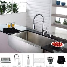 Buy the Kraus Stainless Steel / Chrome Direct. Shop for the Kraus Stainless Steel / Chrome Kitchen Combo - Farmhouse Single Bowl 16 Gauge Stainless Steel Kitchen Sink with Pre-Rinse Kitchen Faucet and Soap Dispenser and save. Stainless Farmhouse Sink, Stainless Steel Kitchen Faucet, Farmhouse Sink Kitchen, Kitchen Sink Faucets, New Kitchen, Kitchen Ideas, Kitchen Small, Kitchen Decor, Diy Countertops