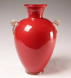 Monumental Red Martinuzzi Art Glass Vase 44cm