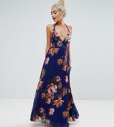 ASOS PETITE Floral Cami Pleated Maxi Dress - Navy