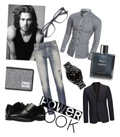 """Power look 😎"" by luciarakoczyova on Polyvore featuring Stacy Adams, Rado, Herschel Supply Co., Merrell, Denham, Chanel, Joseph, men's fashion and menswear"