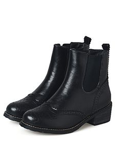Black Round Toe Hollow PU Boots 38.80