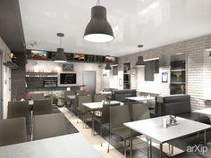 Кафе при магазине мототехники: интерьер, лофт, open space, ресторан, кафе, бар, 30 - 50 м2 #interiordesign #loft #openspace #restaurant #cafeandbar #30_50m2 arXip.com