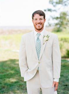 Summery khaki suit: http://www.stylemepretty.com/north-carolina-weddings/belhaven/2015/08/31/coastal-elegance-inspired-wedding-in-north-carolina/   Photography: Faith Teasley - http://faithteasley.com/