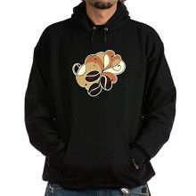 Truly Teague Hoodie Dark Coffee Bean Floral  Black