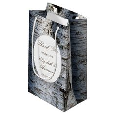 Country Rustic Birch Tree Wedding Thank You Small Gift Bag