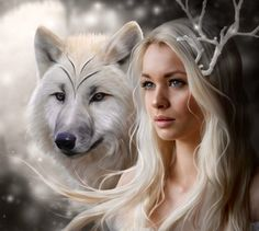Ice Fantasy Wolf Lady Diamond Painting DIY Cross Stitch Embroidery Home Craft Foto Fantasy, Fantasy World, Fantasy Love, Anne Stokes, Wolf Spirit, Spirit Animal, Wolf Girl, Deer Girl, Cross Paintings