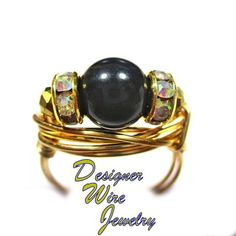 Genuine Swarovski Mystic Black Pearl Artisan Gold Tone Wire Wrap Ring All Sizes