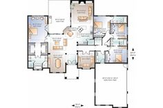 Floor Plan AFLFPW05889 - 1 Story Home Design with 4 BRs and 3 Baths