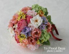 カラフルなミックスカラーのラウンドブーケ @品川プリンスホテル ys floral deco