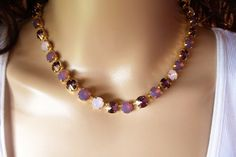 PURPLE PASSION, swarovski necklace,earrings, crystal, opal, bridal, designer inspired, stunning, gold setting,  dksjewelrydesigns