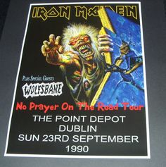 Iron Maiden concert poster The Point Depot Dublin 1990 Size repro Rock Posters, Concert Posters, Music Posters, A3 Size, Shows, Iron Maiden, Band Tees, Special Guest, Dublin