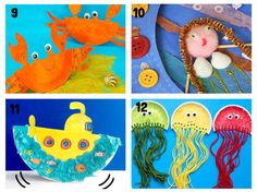 PAPER PLATE OCEAN CRAFTS 9-12. Here are 20 awesome sea themed Summer crafts for kids. From swimming jellyfish to chomping sharks and nipping crabs you'll have lots of fun with these beach crafts.