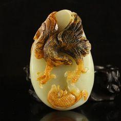Superb Chinese Hetian Jade Pendant - Eagle & Fish