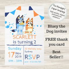 Throw your child their dream birthday party by making Bluey themed - starting with the invitations! Bluey is the cartoon taking Australia by storm and a Bluey party is sure to be a hit with children and parents alike. Abc Party, First Birthday Party Themes, Fourth Birthday, Birthday Invitations Kids, Dog Birthday, Party Invitations, Birthday Ideas, Party Hats, Invites