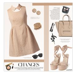 Nude Color Sets by marion-fashionista-diva-miller on Polyvore featuring moda, Nly Shoes, Chan Luu, Zoe, Oliver Peoples, Bare Escentuals, Avenue, contestentry and nudedress