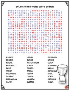 World Music Lessons |  Drums of the World Word Search | World music drumming  |   #musiceducation
