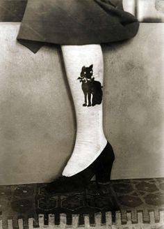Black Cat Stockings -1914.  Solution to those who are squeamish about tattoos ! (: