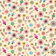 http://www.plushaddict.co.uk/spectrix-friendly-forest-flowers-and-mushrooms-multi.html Spectrix - Friendly Forest Flowers and Mushrooms Multi - cotton fabric