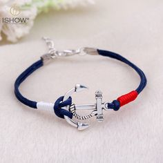 Charm Silver Anchor Multilayer Rope Braided Bracelet Bangle Summer Jewelry