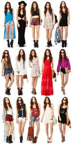 This looks like Coachella girls. Lose the heels and some mash up of these outfits will be in my bags. :)