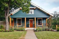 Exterior Color scheme-Fixer Upper: A Craftsman Remodel for Coffeehouse Owners Fixer Upper Hgtv, Teal House, D House, House Flips, Blue House White Trim, Farm House, Exterior Paint Colors For House, Paint Colors For Home, Paint Colours