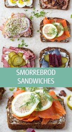 Danish smorrebrod open faced sandwiches with liver pate, smoked salmon, herring, roast beef, egg and pork bacon. A delicious smorrebrod appetizer or lunch. Danish Cuisine, Danish Food, Rolled Roast Beef, Norwegian Food, Norwegian Recipes, Open Faced Sandwich, Pork Bacon, Scandinavian Food, Sandwich Recipes