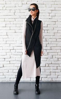Extravagant Black Vest/Casual Long Top/Sleeveless by Metamorphoza