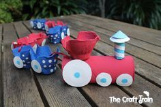 Egg carton train recycling craft