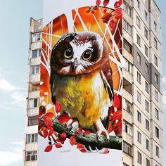 Huge owl by @andreypalval #globalstreetart #mural #bigart #owl http://globalstreetart.com/andrey-palval