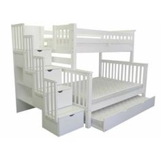 Bedz King Twin over Full Stairway Bunk Beds at Bunk Bed King Bunk Beds With Drawers, Under Bed Drawers, Bunk Beds With Storage, Bunk Beds With Stairs, Cool Bunk Beds, Bunk Bed With Trundle, Twin Bunk Beds, Kids Bunk Beds, Loft Beds
