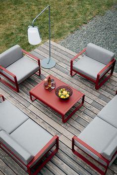 Collection Bellevie de Fermob // Ensemble fauteuils, canapés deux places et table basse