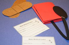 "Math Medical Center Math Station.  Students use thermometer rubrics and math ""prescriptions"" to fix incorrect problems.  Click the image to access this freebie."