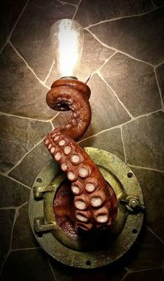 Nautical Tentacle Porthole Lamp by EpochCreations.Almost wanted to put it in with Steampunk board. Edison Lampe, Kraken, My New Room, Wall Sconces, Wall Lamps, Wall Lights, Hanging Lamps, Sweet Home, Creations