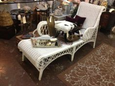 White Vintage Wicker Chaise   $95  Dealer #1680   White Elephant Antiques 1026 N. Riverfront Blvd. Dallas, TX 75207  Open: Mon. to Sat. 10A ...